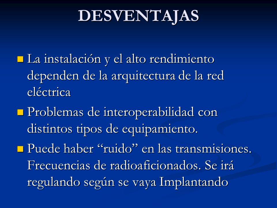 DESVENTAJAS La instalación y el alto rendimiento dependen de la arquitectura de la red eléctrica La instalación y el alto rendimiento dependen de la a