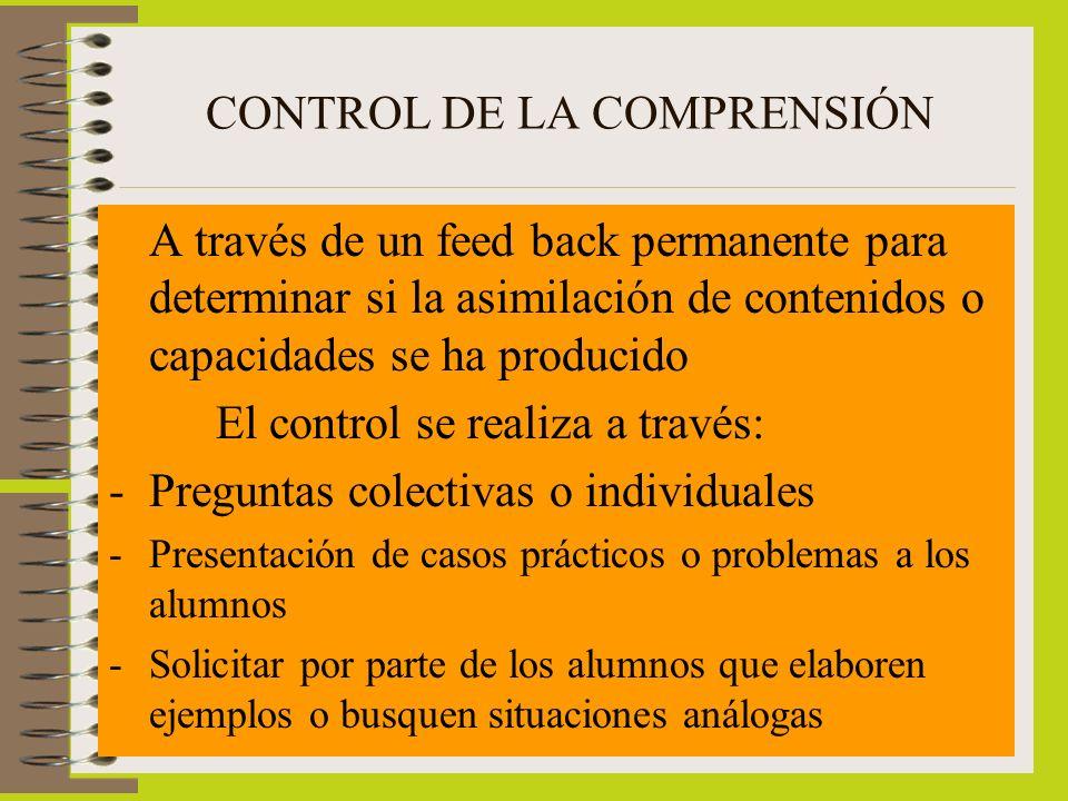 CONTROL DE LA COMPRENSIÓN A través de un feed back permanente para determinar si la asimilación de contenidos o capacidades se ha producido El control