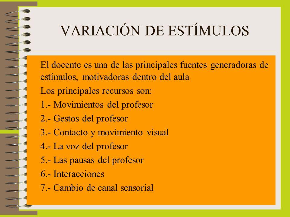 VARIACIÓN DE ESTÍMULOS El docente es una de las principales fuentes generadoras de estímulos, motivadoras dentro del aula Los principales recursos son