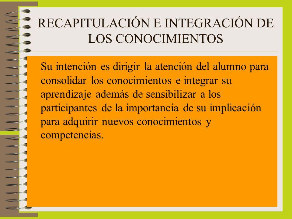 RECAPITULACIÓN E INTEGRACIÓN DE LOS CONOCIMIENTOS Su intención es dirigir la atención del alumno para consolidar los conocimientos e integrar su apren