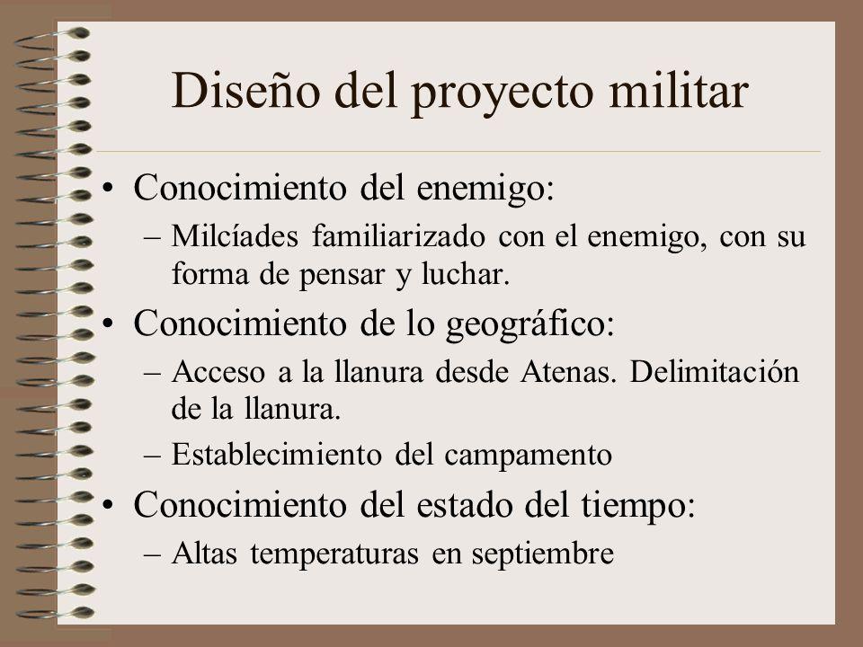 Diseño del proyecto militar Conocimiento del enemigo: –Milcíades familiarizado con el enemigo, con su forma de pensar y luchar. Conocimiento de lo geo