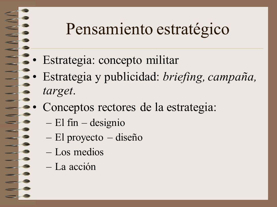 Pensamiento estratégico Estrategia: concepto militar Estrategia y publicidad: briefing, campaña, target. Conceptos rectores de la estrategia: –El fin