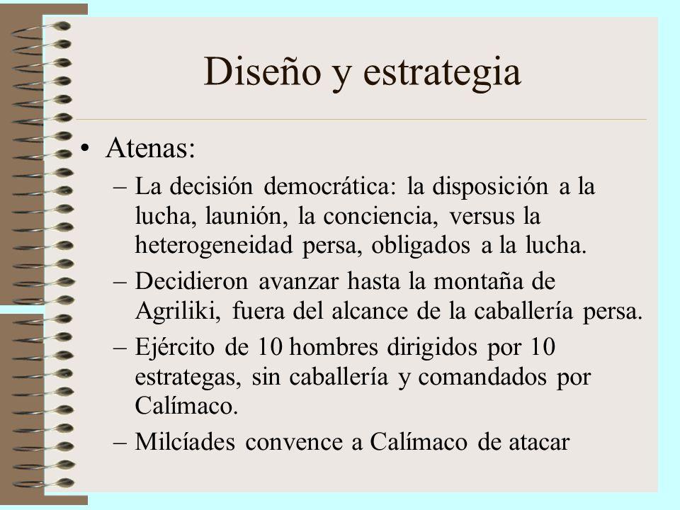 Diseño y estrategia Atenas: –La decisión democrática: la disposición a la lucha, launión, la conciencia, versus la heterogeneidad persa, obligados a l