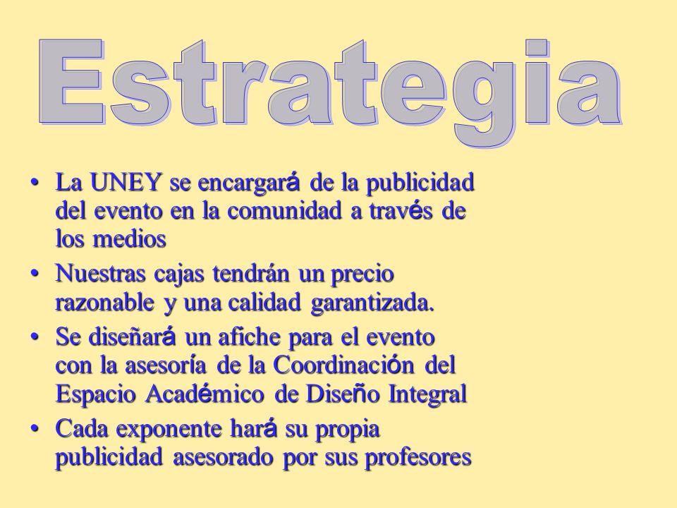 Nuestro mercado será el conformado por los estudiantes, profesores, empleados y obreros de la UNEY y el público en general que durante los días del me