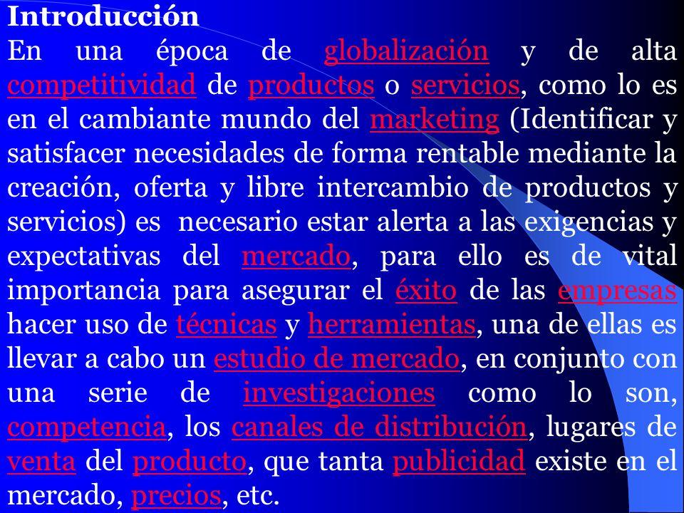 Introducción En una época de globalización y de alta competitividad de productos o servicios, como lo es en el cambiante mundo del marketing (Identifi