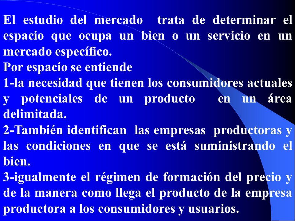 El estudio del mercado trata de determinar el espacio que ocupa un bien o un servicio en un mercado específico. Por espacio se entiende 1-la necesidad