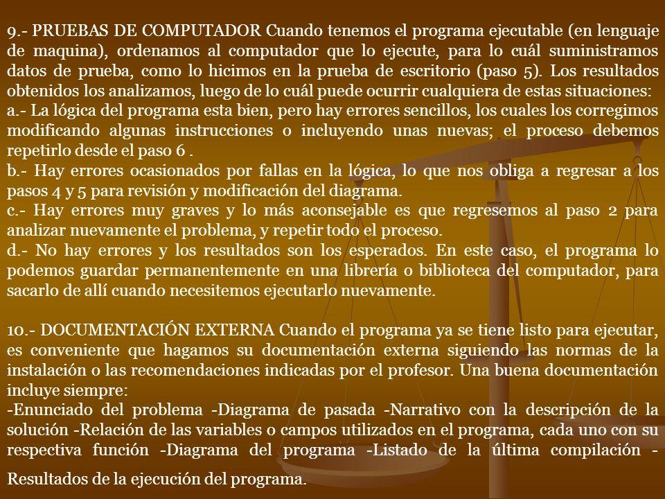 9.- PRUEBAS DE COMPUTADOR Cuando tenemos el programa ejecutable (en lenguaje de maquina), ordenamos al computador que lo ejecute, para lo cuál suministramos datos de prueba, como lo hicimos en la prueba de escritorio (paso 5).