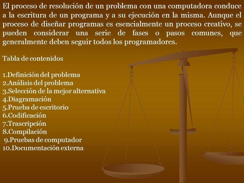 Las siguientes son las etapas que se deben cumplir para resolver con éxito un problema de programación: 1.- DEFINICIÓN DEL PROBLEMA Está dada por el enunciado del problema, el cuál debe ser claro y completo.