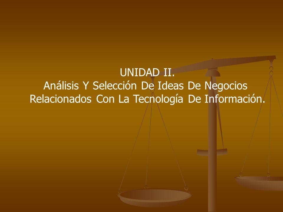 UNIDAD II. Análisis Y Selección De Ideas De Negocios Relacionados Con La Tecnología De Información.