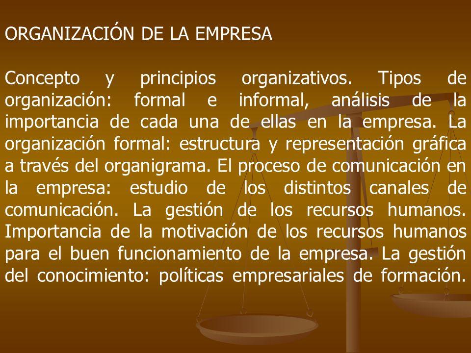ORGANIZACIÓN DE LA EMPRESA Concepto y principios organizativos. Tipos de organización: formal e informal, análisis de la importancia de cada una de el