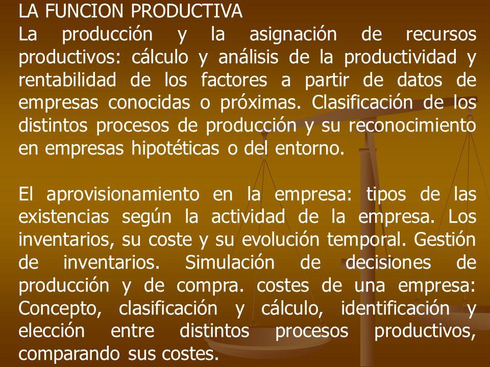 LA FUNCION PRODUCTIVA La producción y la asignación de recursos productivos: cálculo y análisis de la productividad y rentabilidad de los factores a p