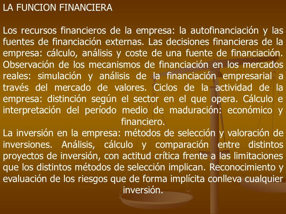LA FUNCION FINANCIERA Los recursos financieros de la empresa: la autofinanciación y las fuentes de financiación externas. Las decisiones financieras d