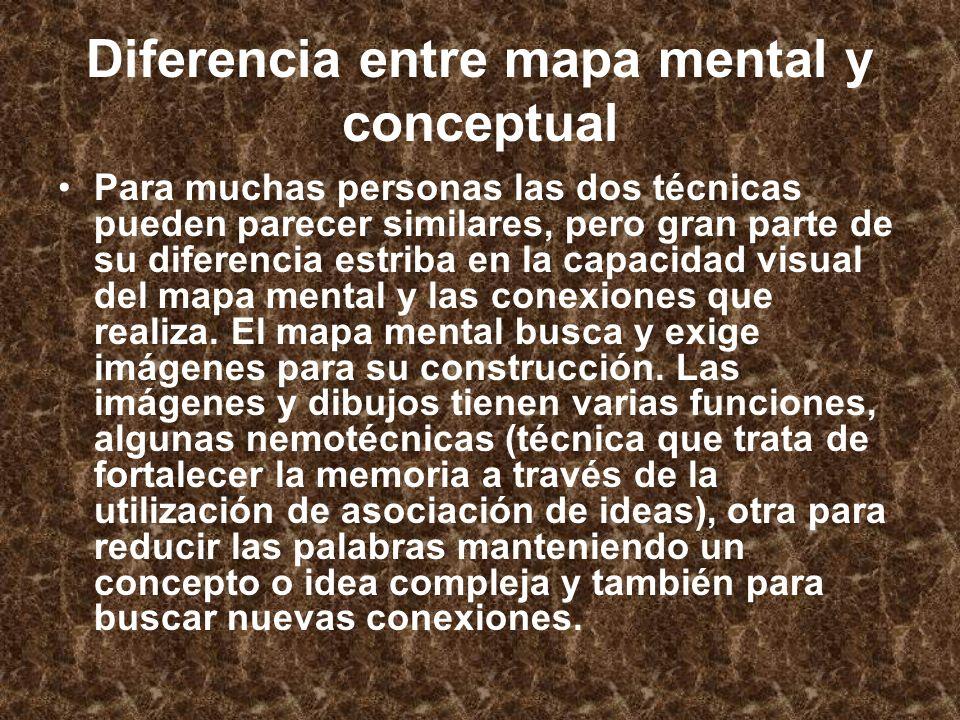 Diferencia entre mapa mental y conceptual Para muchas personas las dos técnicas pueden parecer similares, pero gran parte de su diferencia estriba en