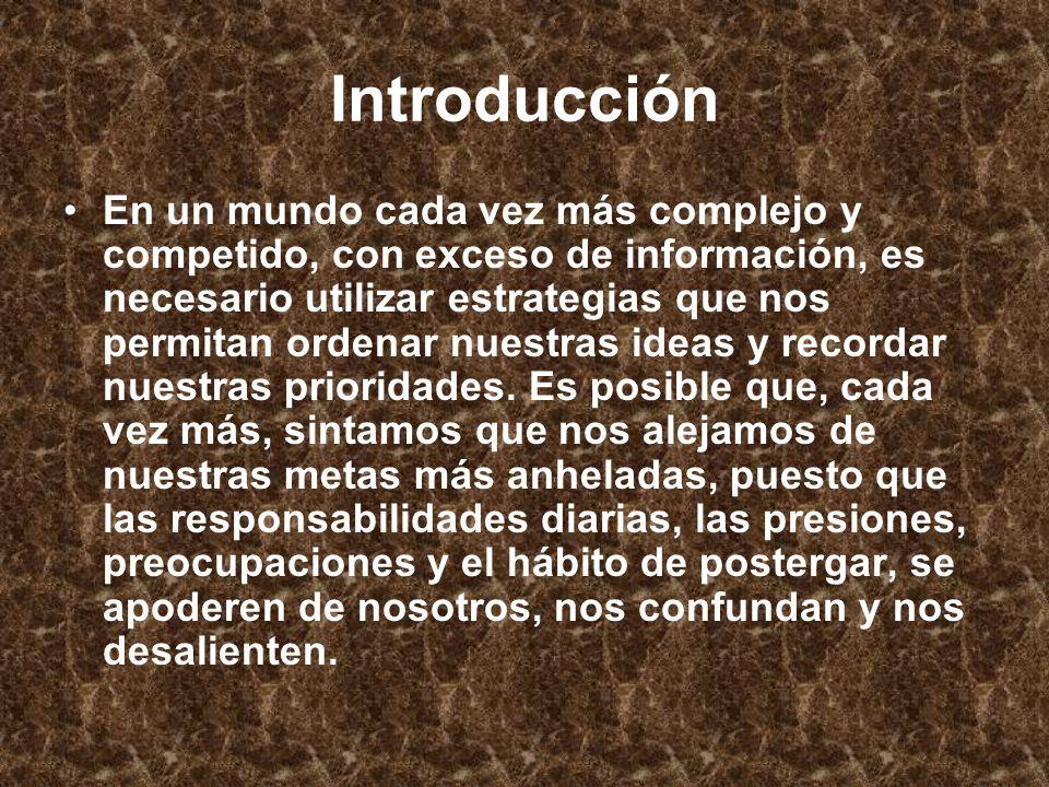 Introducción En un mundo cada vez más complejo y competido, con exceso de información, es necesario utilizar estrategias que nos permitan ordenar nues