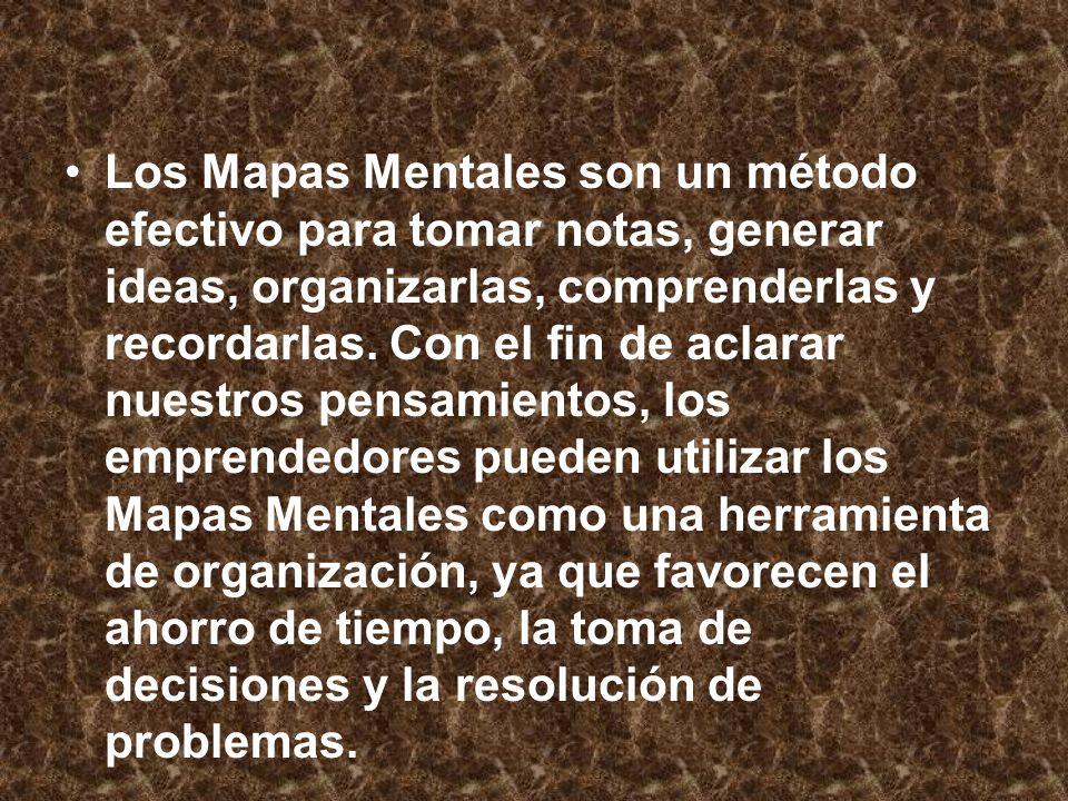 Los Mapas Mentales son un método efectivo para tomar notas, generar ideas, organizarlas, comprenderlas y recordarlas. Con el fin de aclarar nuestros p
