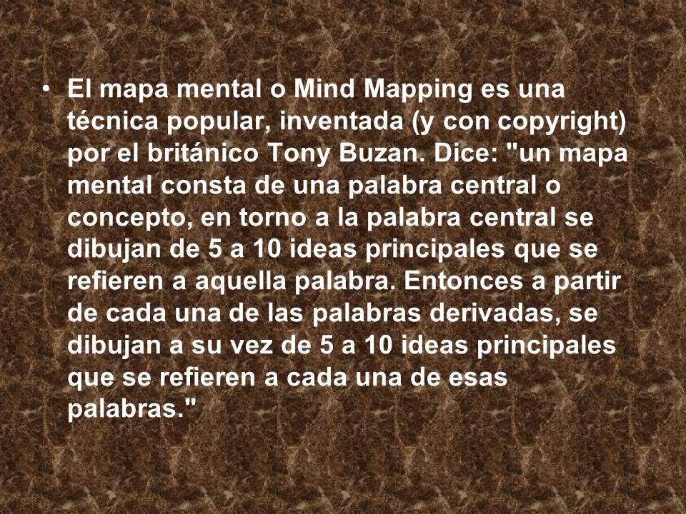 El mapa mental o Mind Mapping es una técnica popular, inventada (y con copyright) por el británico Tony Buzan. Dice: