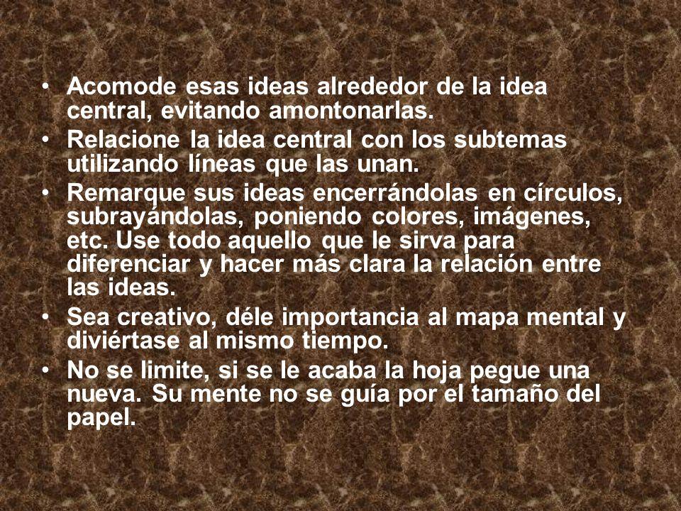 Acomode esas ideas alrededor de la idea central, evitando amontonarlas. Relacione la idea central con los subtemas utilizando líneas que las unan. Rem