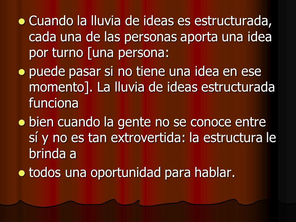 Cuando la lluvia de ideas es estructurada, cada una de las personas aporta una idea por turno [una persona: Cuando la lluvia de ideas es estructurada,