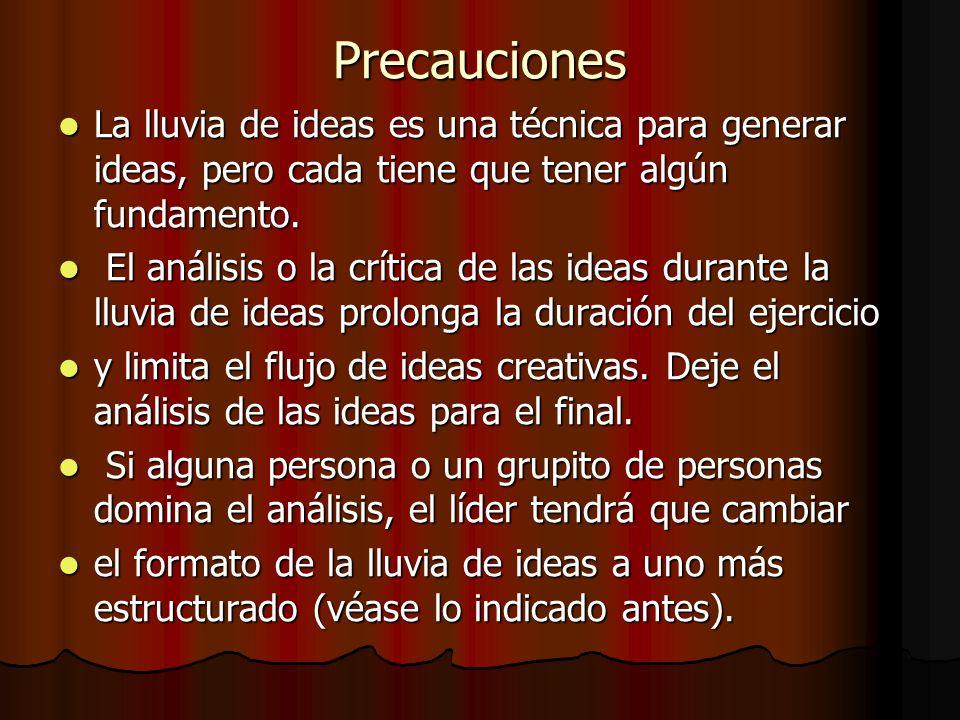 Precauciones La lluvia de ideas es una técnica para generar ideas, pero cada tiene que tener algún fundamento. La lluvia de ideas es una técnica para