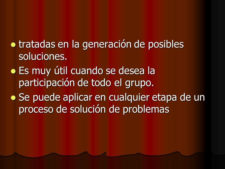 tratadas en la generación de posibles soluciones. tratadas en la generación de posibles soluciones. Es muy útil cuando se desea la participación de to