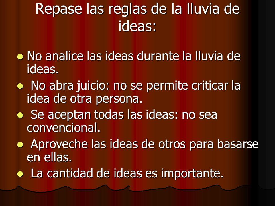Repase las reglas de la lluvia de ideas: No analice las ideas durante la lluvia de ideas. No analice las ideas durante la lluvia de ideas. No abra jui