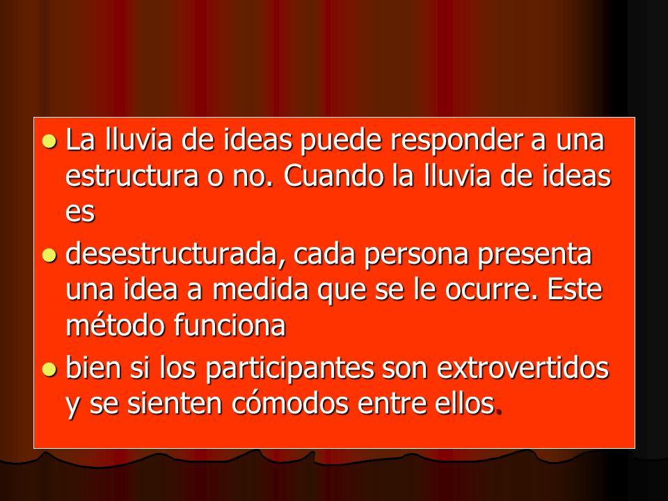 Cuando la lluvia de ideas es estructurada, cada una de las personas aporta una idea por turno [una persona: Cuando la lluvia de ideas es estructurada, cada una de las personas aporta una idea por turno [una persona: puede pasar si no tiene una idea en ese momento].