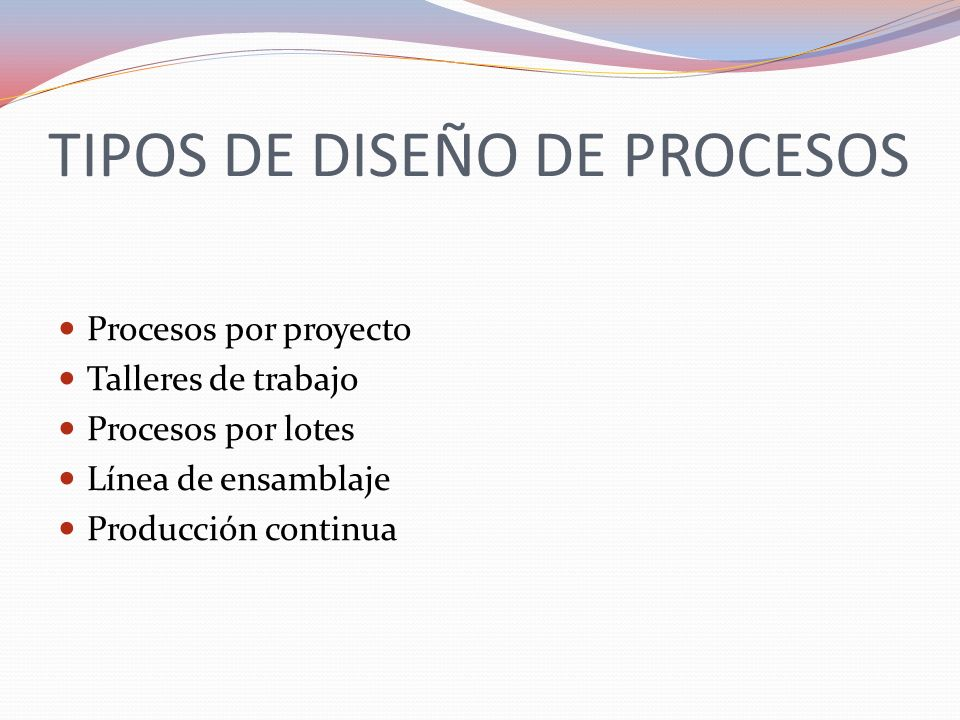 TIPOS DE DISEÑO DE PROCESOS Procesos por proyecto Talleres de trabajo Procesos por lotes Línea de ensamblaje Producción continua