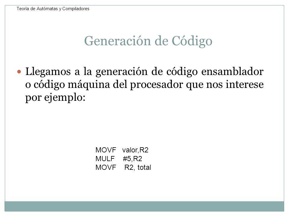 Generación de Código Llegamos a la generación de código ensamblador o código máquina del procesador que nos interese por ejemplo: MOVF valor,R2 MULF #
