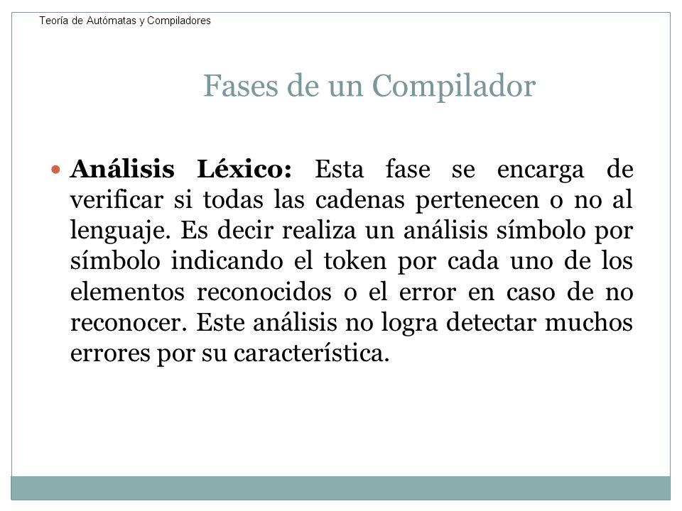 Fases de un Compilador Análisis Léxico: Esta fase se encarga de verificar si todas las cadenas pertenecen o no al lenguaje. Es decir realiza un anális