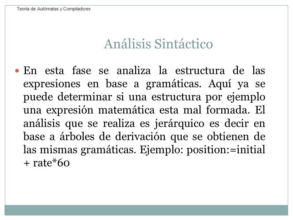 Análisis Sintáctico En esta fase se analiza la estructura de las expresiones en base a gramáticas. Aquí ya se puede determinar si una estructura por e