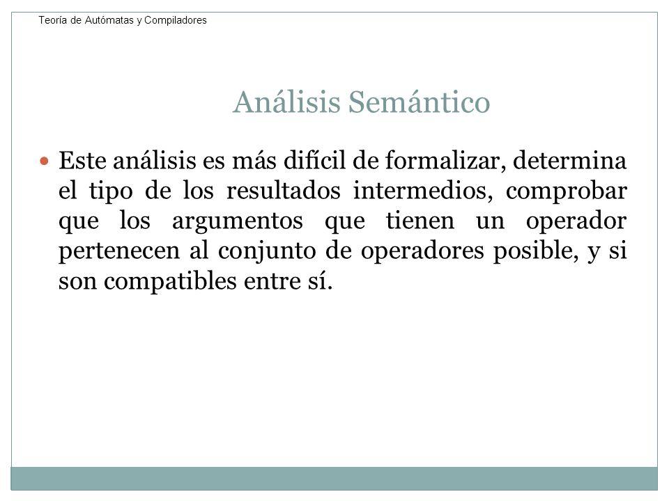 Análisis Semántico Este análisis es más difícil de formalizar, determina el tipo de los resultados intermedios, comprobar que los argumentos que tiene