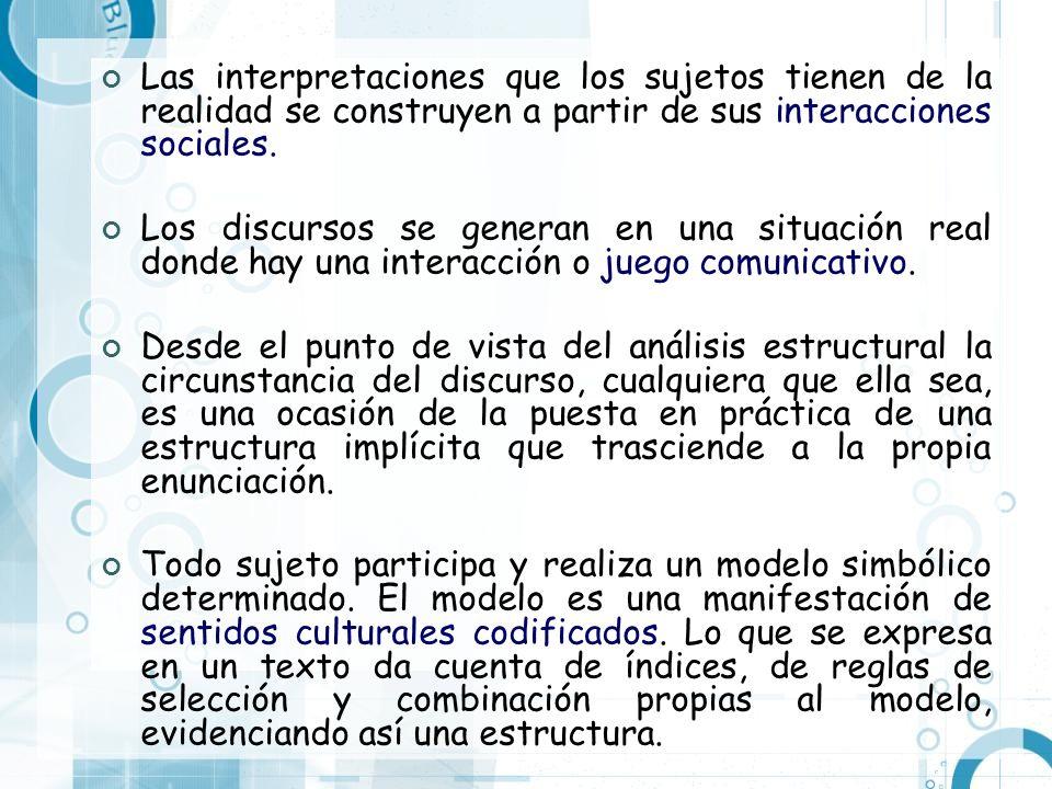 Las interpretaciones que los sujetos tienen de la realidad se construyen a partir de sus interacciones sociales. Los discursos se generan en una situa