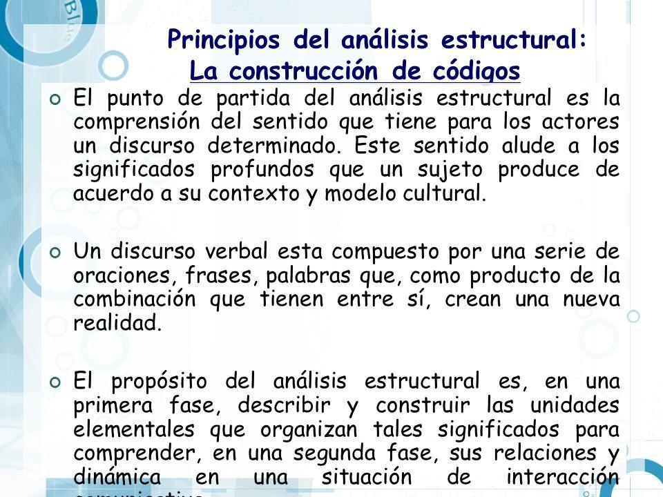 Principios del análisis estructural: La construcción de códigos El punto de partida del análisis estructural es la comprensión del sentido que tiene p