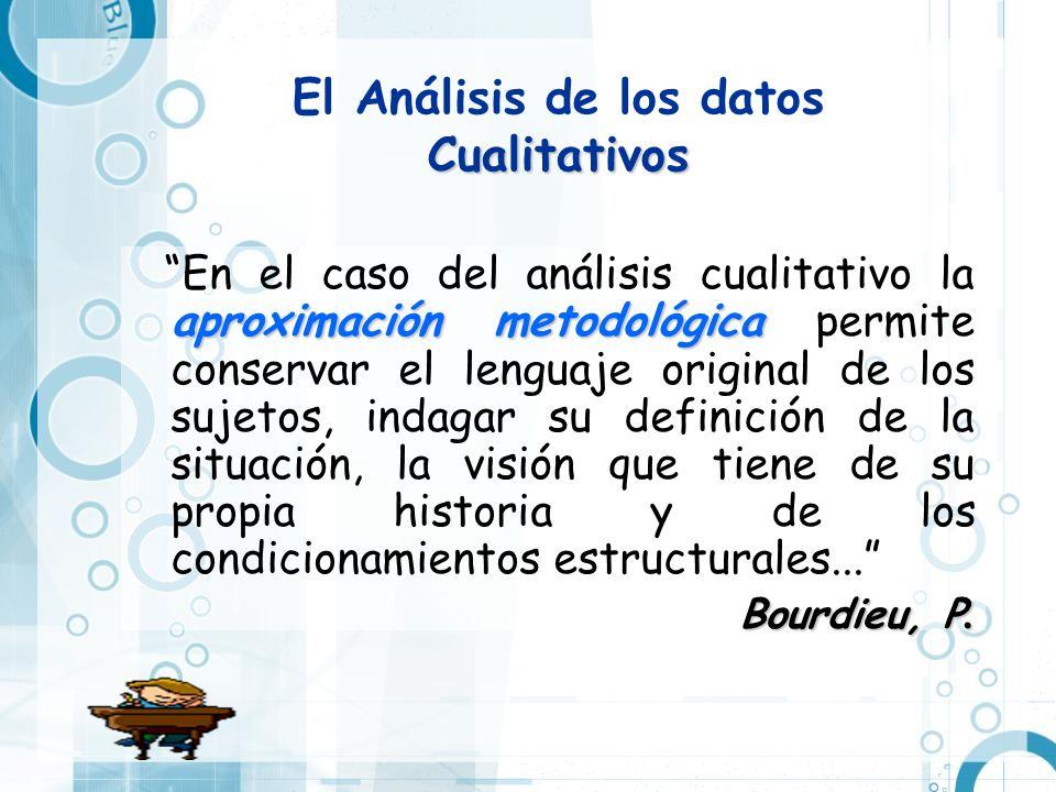 Cualitativos El Análisis de los datos Cualitativos aproximación metodológica En el caso del análisis cualitativo la aproximación metodológica permite