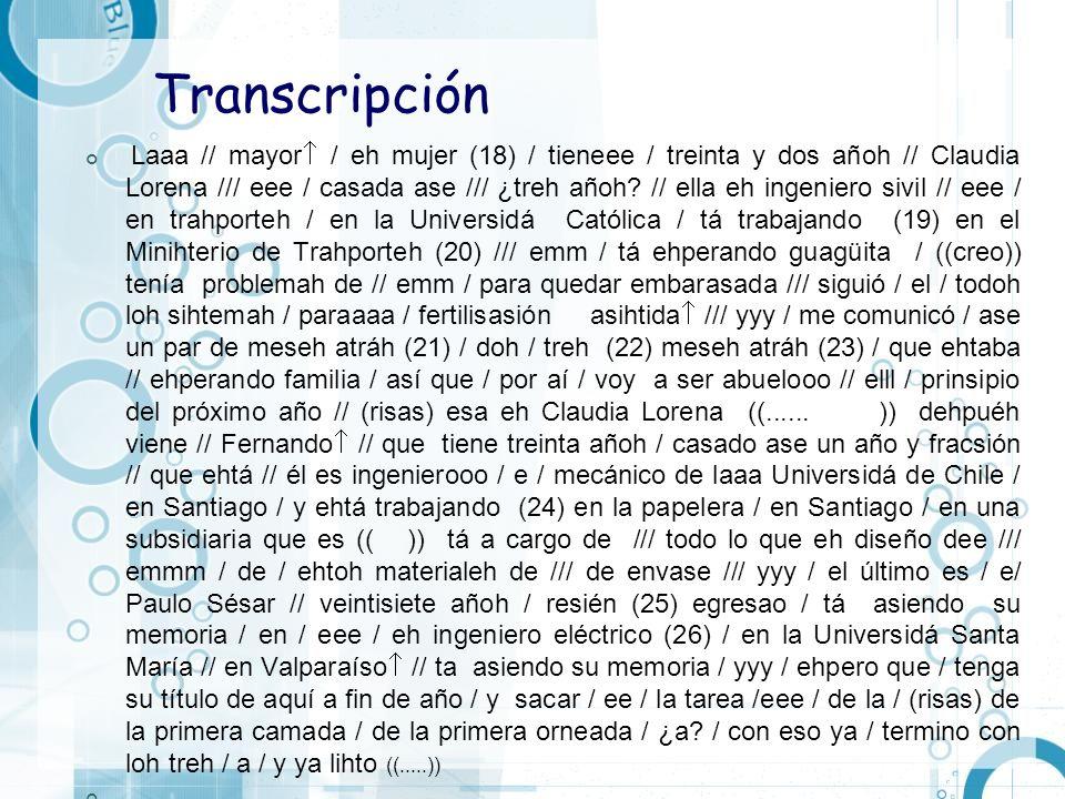 Transcripción Laaa // mayor / eh mujer (18) / tieneee / treinta y dos añoh // Claudia Lorena /// eee / casada ase /// ¿treh añoh? // ella eh ingeniero