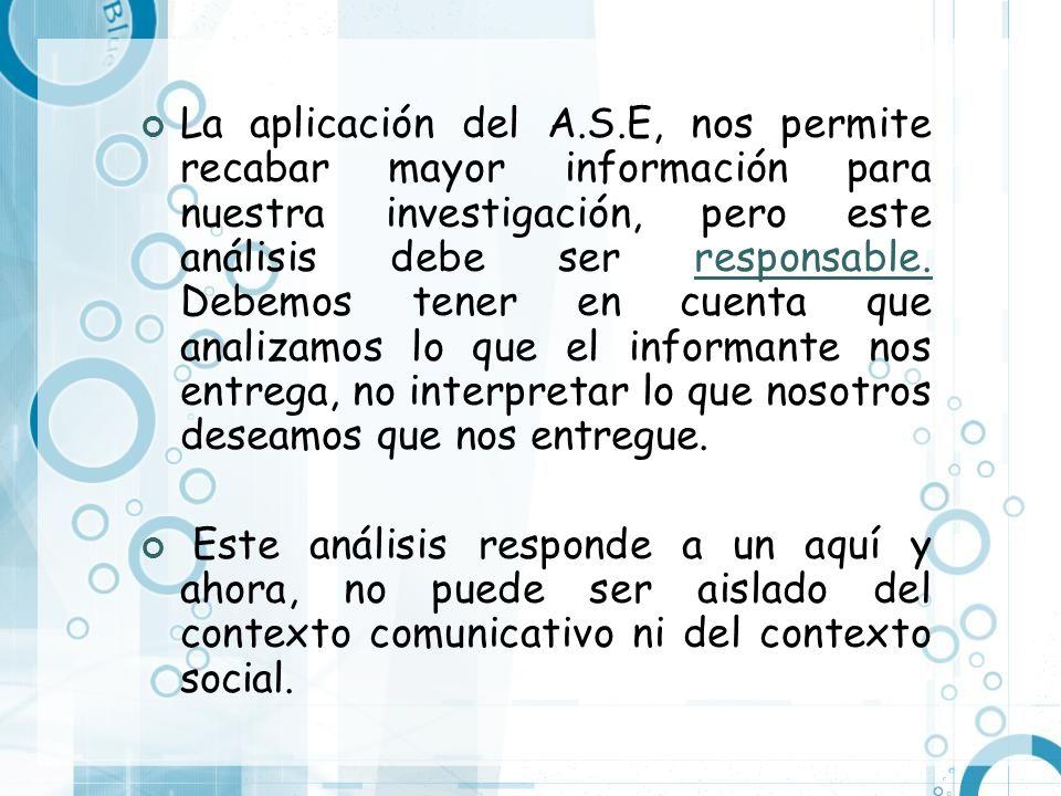 La aplicación del A.S.E, nos permite recabar mayor información para nuestra investigación, pero este análisis debe ser responsable. Debemos tener en c