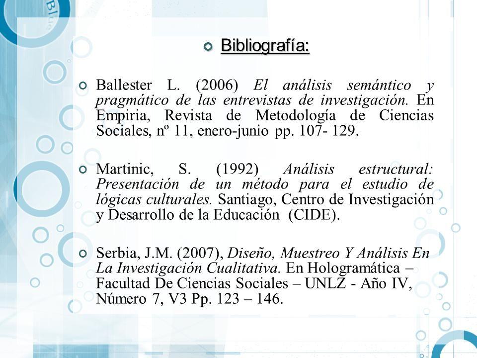 Bibliografía: Bibliografía: Ballester L. (2006) El análisis semántico y pragmático de las entrevistas de investigación. En Empiria, Revista de Metodol