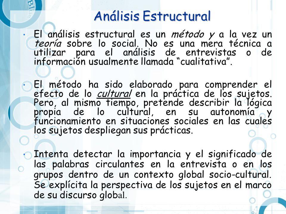 Análisis Estructural El análisis estructural es un método y a la vez un teoría sobre lo social. No es una mera técnica a utilizar para el análisis de