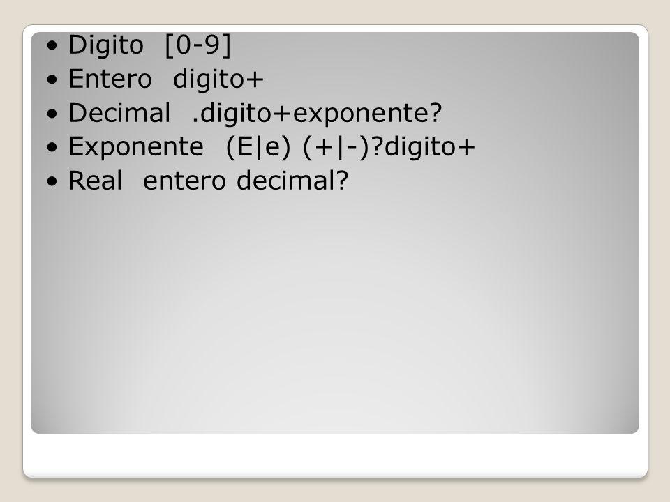 Digito [0-9] Entero digito+ Decimal.digito+exponente? Exponente (E|e) (+|-)?digito+ Real entero decimal?