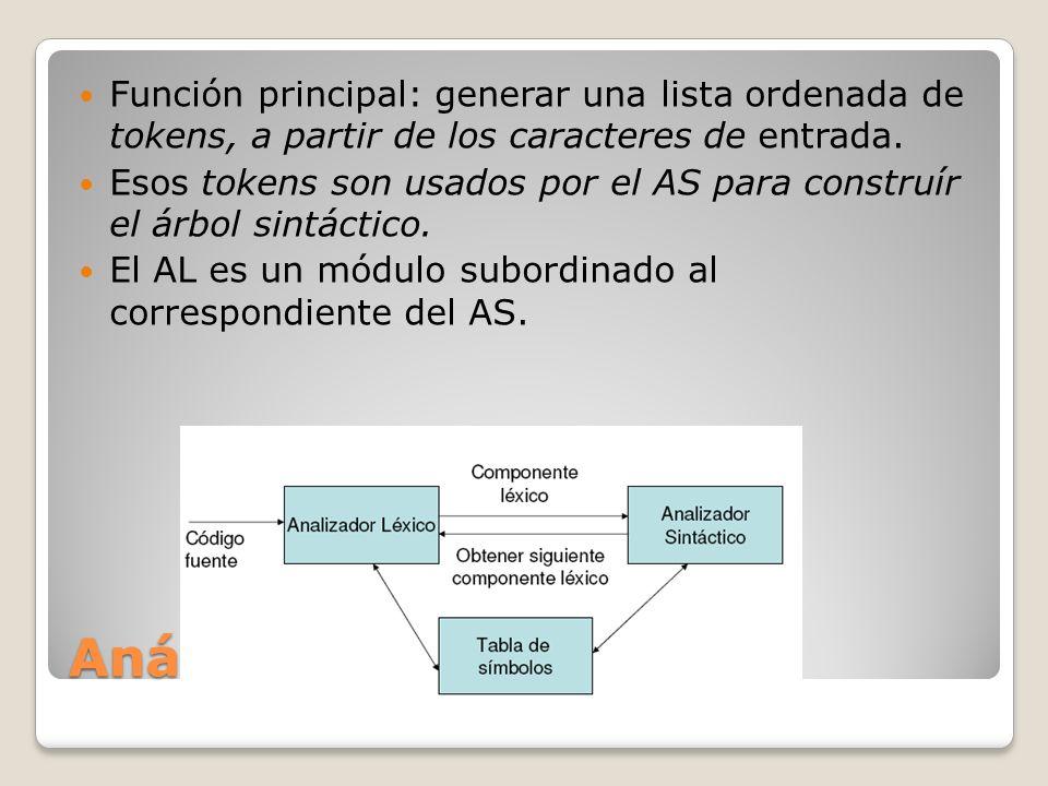 Análisis léxico Función principal: generar una lista ordenada de tokens, a partir de los caracteres de entrada. Esos tokens son usados por el AS para