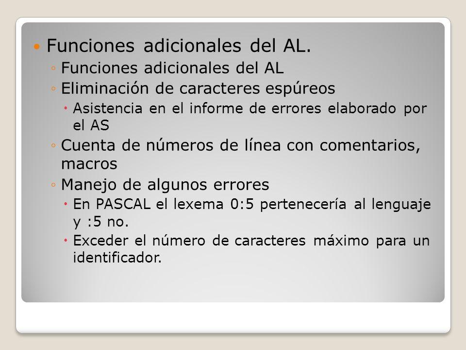 Funciones adicionales del AL. Funciones adicionales del AL Eliminación de caracteres espúreos Asistencia en el informe de errores elaborado por el AS