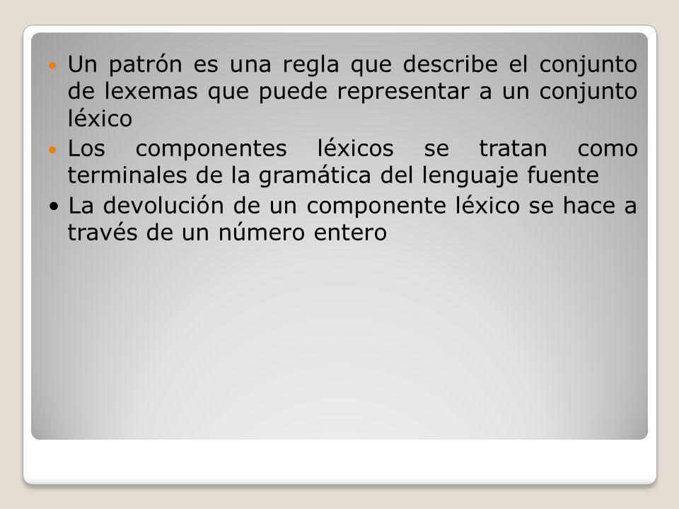 Un patrón es una regla que describe el conjunto de lexemas que puede representar a un conjunto léxico Los componentes léxicos se tratan como terminale