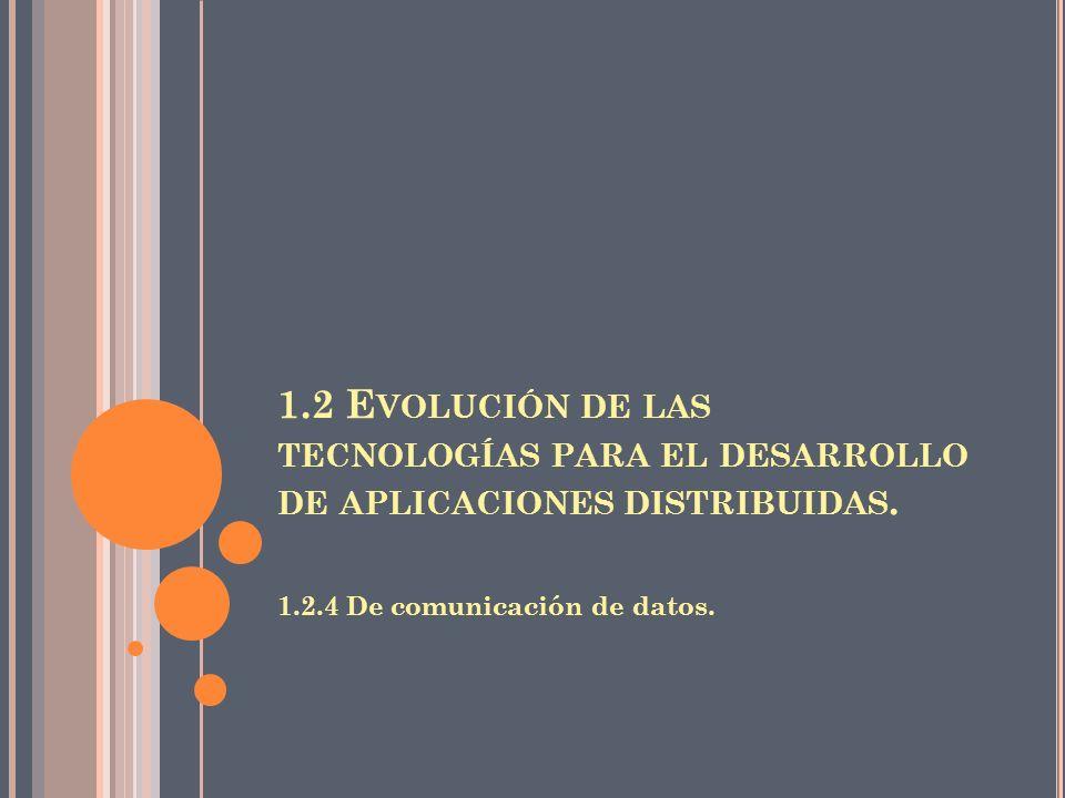 1.2 E VOLUCIÓN DE LAS TECNOLOGÍAS PARA EL DESARROLLO DE APLICACIONES DISTRIBUIDAS. 1.2.4 De comunicación de datos.