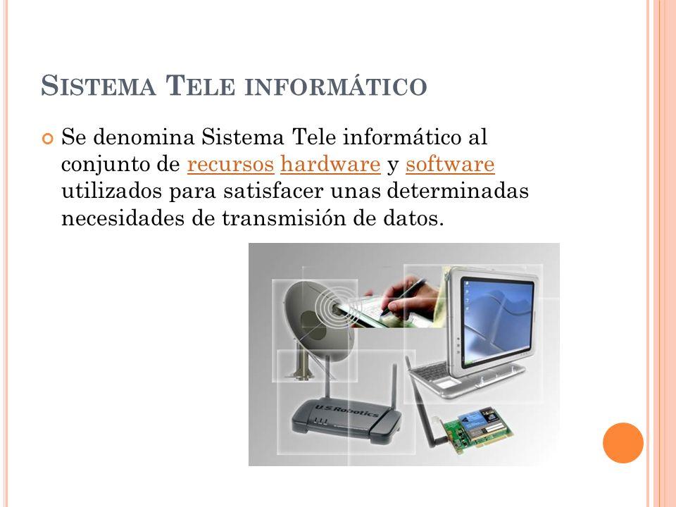 S ISTEMA T ELE INFORMÁTICO Se denomina Sistema Tele informático al conjunto de recursos hardware y software utilizados para satisfacer unas determinad