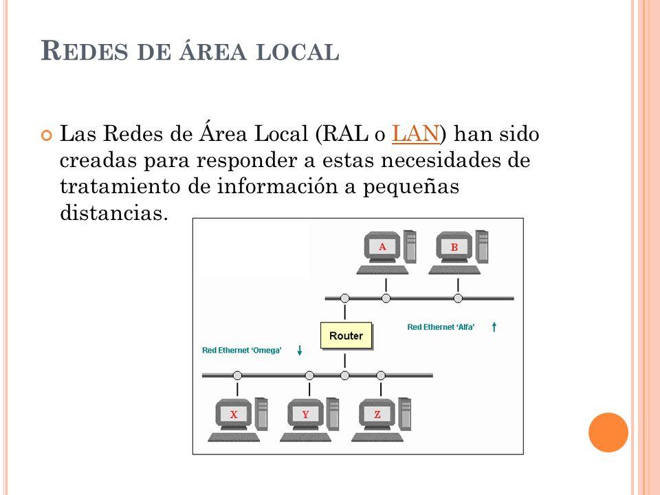R EDES DE ÁREA LOCAL Las Redes de Área Local (RAL o LAN) han sido creadas para responder a estas necesidades de tratamiento de información a pequeñas