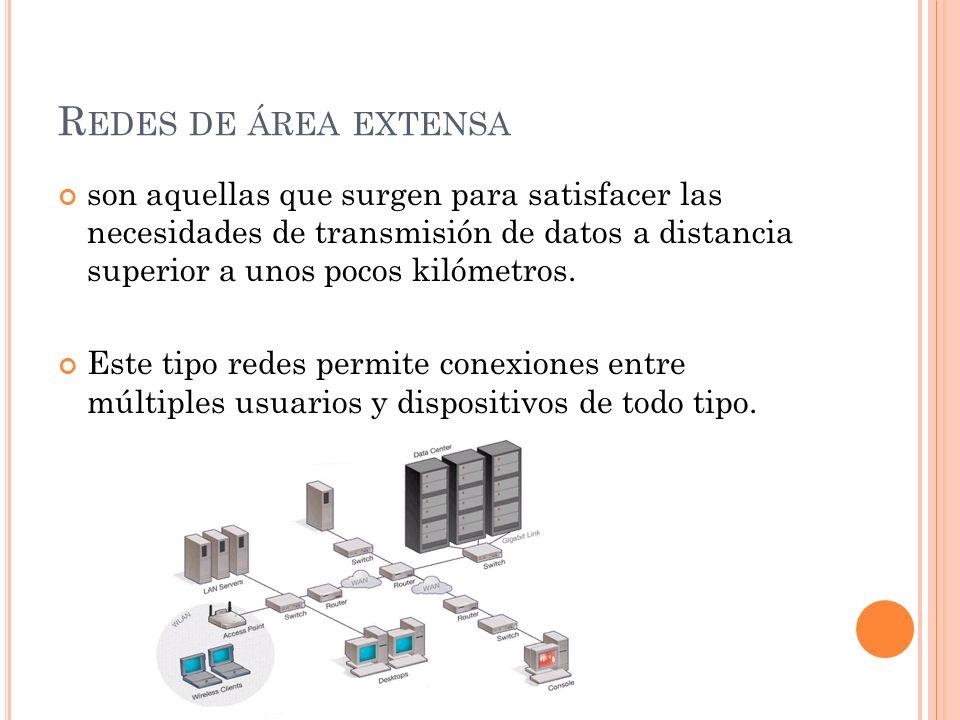 R EDES DE ÁREA EXTENSA son aquellas que surgen para satisfacer las necesidades de transmisión de datos a distancia superior a unos pocos kilómetros. E