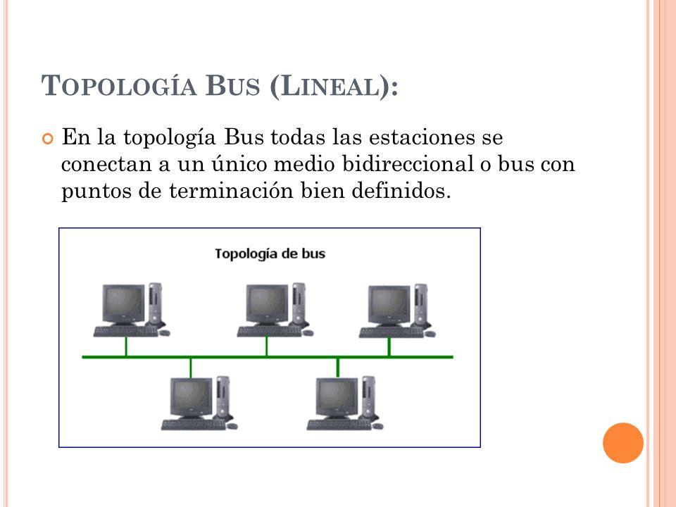 T OPOLOGÍA B US (L INEAL ): En la topología Bus todas las estaciones se conectan a un único medio bidireccional o bus con puntos de terminación bien d