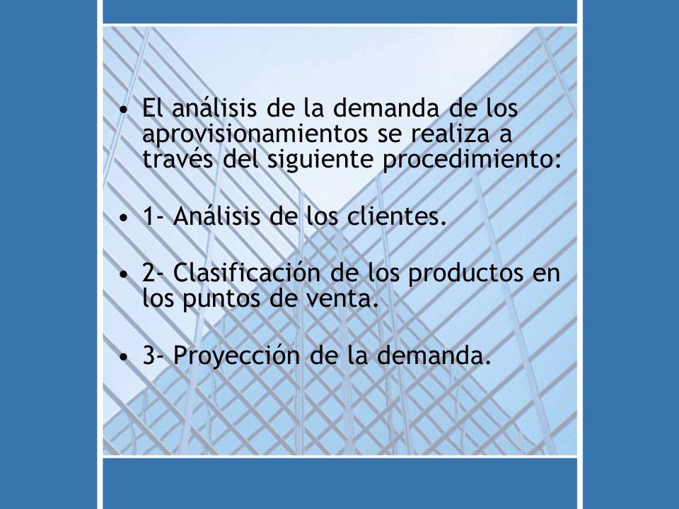 El análisis de la demanda de los aprovisionamientos se realiza a través del siguiente procedimiento: 1- Análisis de los clientes. 2- Clasificación de