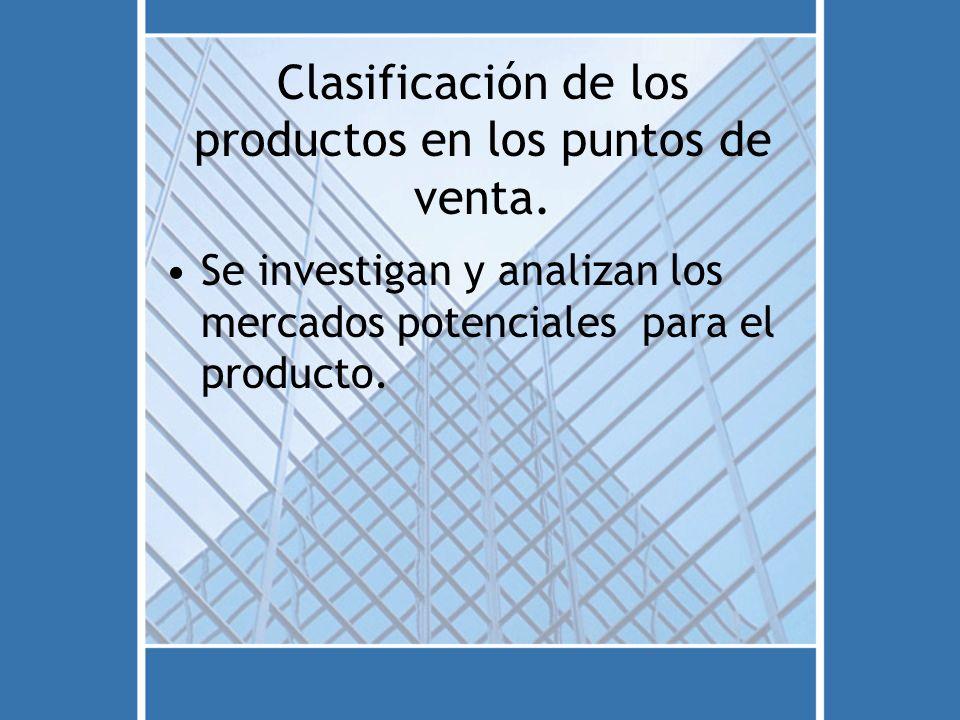 Clasificación de los productos en los puntos de venta. Se investigan y analizan los mercados potenciales para el producto.