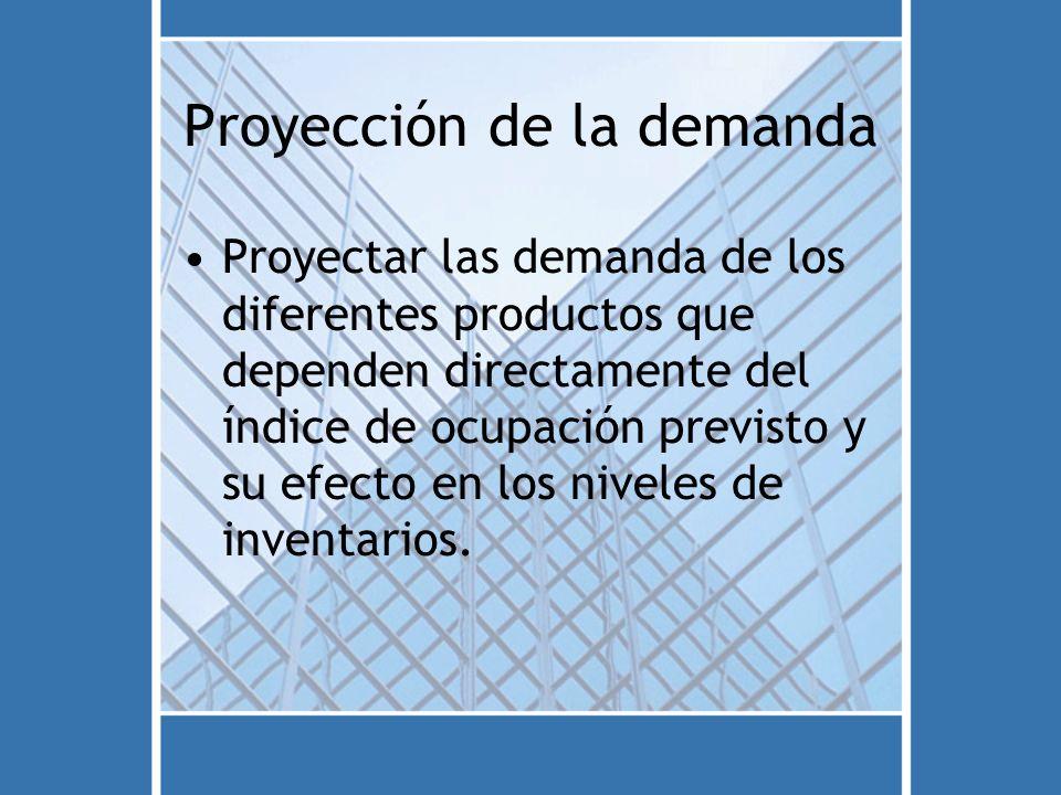 Proyección de la demanda Proyectar las demanda de los diferentes productos que dependen directamente del índice de ocupación previsto y su efecto en l